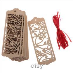 10pcs Hollow Rectangle Mariage Pièces en bois Cadeaux Étiquettes de cadeaux avec ruban