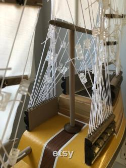 24 Inch Model Chinese Junk Ship Redwood Multi-level Hull, Complementary Stand, 24 Sails, Yellow, Beige, Brown, White Pin Striping