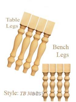 2 ensembles de pieds de table fait à la main et banc jambes en bois pin-salle à manger pin table jambes
