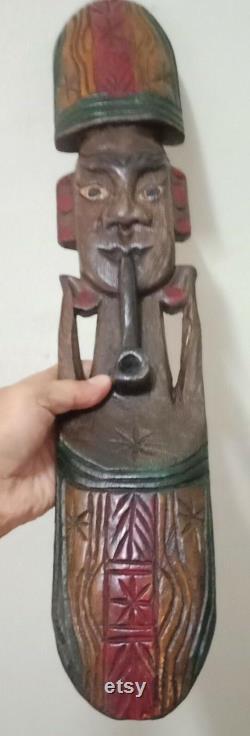 2x Art Hand Carved Wooden Thai vintage Handwork Stand Holder Cadeau de collection