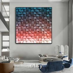 Art géométrique de mur en bois Reclaimed Wood Art Peinture abstraite sur bois bleu et rouge Mosaïque bois art Géométrique Rustique Bois panneau en bois
