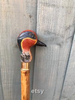 Bâton de marche de Drake Sarcelle sculpté à la main
