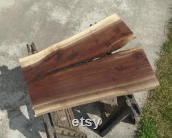 Black Walnut Live Edge Slab Kiln Dried Tiger Grain Grain Table Decor Art 29 1 2 Long 23 Largeur max. 1 1 8 Épais aplati Poncé
