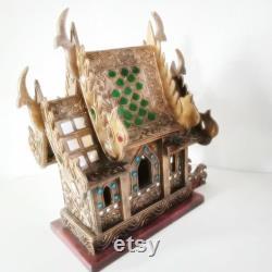 Cadeau Thai Spirit House bouddhiste fait à la main bois d or décoré verre coloré