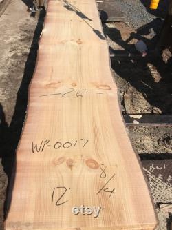 Dalle de bois de pin blanc de 12 pieds. Dalle de bois de 12 pieds de long. Dalle en bois de pin de 12 pieds pour la table à manger. Dalles de bois long à vendre