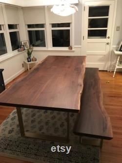 Dalles de bois de bord en direct de sept pieds. Noix noire. Table de dalle de bois. Table basse en dalle de bois. Haut de comptoir de dalle de bois. Haut de barre de bord en direct.