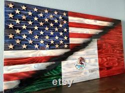 Drapeau en bois rustique États-Unis Mexique split