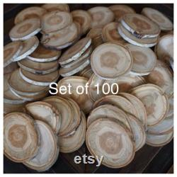Ensemble de 100 4.5 5 Grandes tranches de bois d aspen décor rustique de mariage disque en bois fournitures rustiques de mariage mariage de bricolage -fournitures d artisanat