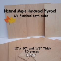 Érable 20 pièces 1 8 MDF Core Contreplaqué bois dur Préfini Finition UV des deux côtés 12 x20 Laser Contreplaqué Glowforge bois 20 feuilles proofgrade
