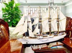 Esmeralda ship barquentine grand navire de la marine chilienne Bateau modèle en bois Taille 35