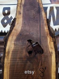 Gnarly Wide Black Walnut Live-Edge Table, Bureau, Ile, 8' Slabs
