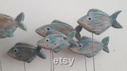 Groupe de poissons en bois l Artisanat artisanal de poissons