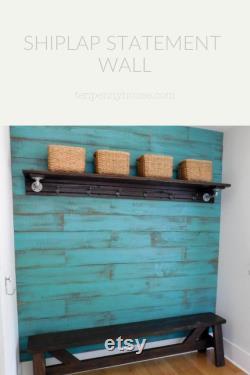 Mur d accent de Shiplap, mur en bois rustique, planches de bois montrées en turquoise