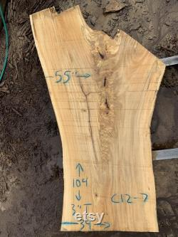 Natural Live Edge Slab Eastern Cottonwood 104 x 39-55 x 3 Parfait pour la grande table