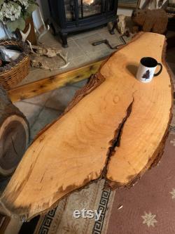 Pecan Live Edge Project Wood- Artistic Bark Edged DIY tabletop Wood Slab- Figured Natural Edge Wood JandR