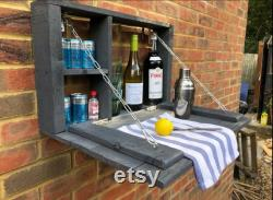 Rustic Pallet Wood Wall Bar Party Organisateur Garden Accessory Shabby Chic Grey