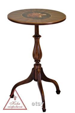 Table basse d inclinaison classique supérieure avec une marqueterie unique rose table basse en bois Tilt top table ovale inclinaison table supérieure de bois de noyer massif
