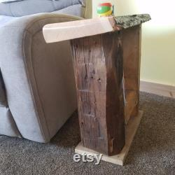 Table d extrémité en bois récupérée personnalisée
