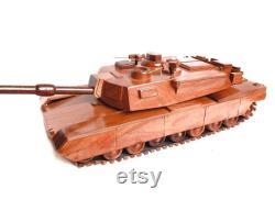 Tank M1A1 Modèle de char militaire en bois 14 x 8 x3