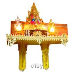 Wood Buddha Shelf Wall Buddhist Display vintage Gold Red Shrine 28 pouces NOUVEAU