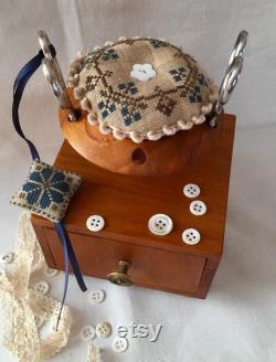 boîte à coudre pincushion rond